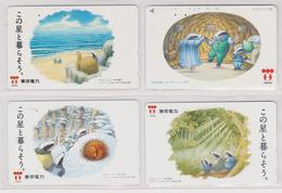 LOT 2/3 - 4 Télécartes JAPON - COMICS - ANIMAL - BLAIREAU - BAGDER JAPAN Phonecard / TEPCO Energy - 211 - Lots - Collections