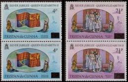 TRISTAN DA CUNHA 1978 Silver Jubilee The Royal Standard Flag Volcano Ship OVPT.PAIRS:2 Lion Unicorn - Tristan Da Cunha