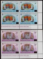 TRISTAN DA CUNHA 1978 Silver Jubilee The Royal Flag Volcano Ship OVPT.CORN.4-BLOCKS:2 Lion Unicorn - Tristan Da Cunha