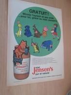 SPITIN20 Pour  Collectionneurs  PUBLICITE 60/70 ;  Format A4 WINNIE L'OURSON MIEL JENSEN'S Plastifiable Sur Demande - Publicidad