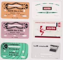 6 Carte CARBONES RUBANS KORES . MARTIN ( Père & Fils ) Mécaniciens Artisans à ROUEN - Otras Colecciones