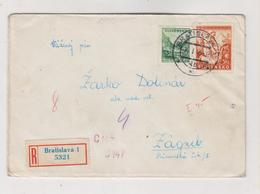 SLOVAKIA. 1945 BRATISLAVA WW II Registered Censored Cover To Croatia - Briefe U. Dokumente
