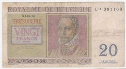Belgium P 132 B - 20 Francs 3.4.1956 - Fine - [ 6] Schatzamt