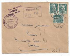 GANDON 2FRX3 LETTRE REC PROVISOIRE ANGERS RP 15.8.1945 MAINE ET LOIRE AU TARIF - 1945-54 Marianne Of Gandon