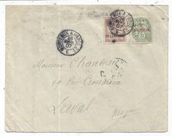 MAROC BLANC 5C+20C MOUCHON LETTRE AMBULANT BORDEAUX A APRIS 2° E 25 AVRIL 1907 - 1900-29 Blanc