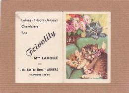 Calendrier Frivolity Mme Lavollé Rue Du Haras Angers Laines Tricots Jerseys Chemisiers 1954 - Calendriers