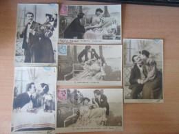 6 CPA Fantaisie - Couples - Cartes Couleurs Circulées Pour Châlon-Sur-Saône Vers 1905 - Couples