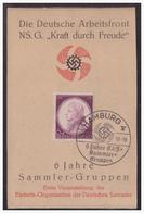 Dt.- Reich (005043) Gedenkkblatt, Deutsche Arbeitsfront , Kraft Durch Freude, 6 Jahre Sammler Gruppen, Mit SST Hamburg - Germany