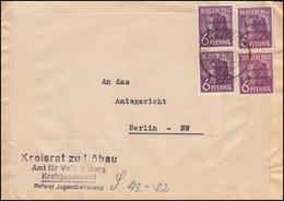 183 SBZ-Aufdruck 6 Pf Viermal Auf Brief Kreisjugendamt LÖBAU 1948 Nach Berlin - Zona Sovietica
