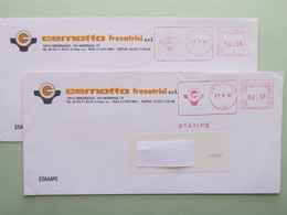 Italia, Cernotto Fresatrici (tem. Industria), 2 Buste, Affrancatura  Meccanica, Ema, Meter (Re)9 - Affrancature Meccaniche Rosse (EMA)
