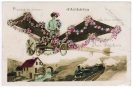 Q534 - Planant Au-dessus D'Ambérieu - Avion (ancêtre De L'ULM) - Train - Autres Communes