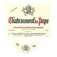 Etiquette De Vin - Chateauneuf Du Pape - 1993 - Rouges
