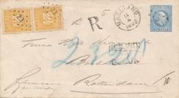 Nederlands Indië - 1893 - 20 Cent Willem III, Envelop G12 + 2x 2,5c R-cover Van KR & Punt MAGELANG - Via Genua Naar NL - Niederländisch-Indien