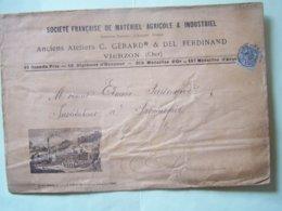 L'AGRICULTURE. LES BATTEUSES. ENVELOPPE AFFRANCHIE EN 1899 A VIERZON PAR LA SOCIETE FRANCAISE DE MATERIEL AGRICOLE...... - Altri