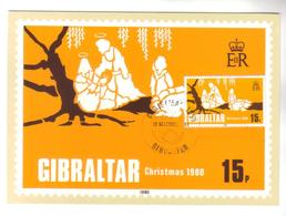 9598- Gibraltar, British Colonies, Maxicard Stanley Gibbons 442- 1980 – Christmas - Gibraltar