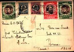 59913) ITALIA CARTOLINA CON FRANCOBOLLI DELLA CITTà DEL VATICANO SOPRAS. DA 5L+10L.+ALTRI DA ROMA AD AVESSA IL 4-2-1948 - Vatican