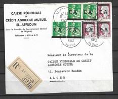 Surcharge E A Devant De Lettre Recommandé El Affroun Alger 1962 - Algeria (1962-...)