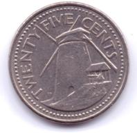 BARBADOS 2001: 25 Cents, KM 13 - Barbades