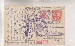 Espagne - Carte Postale De 1942 - Oblit Pamplona - Exp Vers Tirlemont - Réexp Vers Boutersem-avec 4 Censures Différentes - 1931-50 Lettres