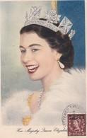 MAROC ANGLAIS Carte Maximum QUEEN Elisabeth II Yt 66 Tetuan 1954  Revenue Morocco Agencies Maximum Card Scan, Dos A Voir - Morocco Agencies / Tangier (...-1958)