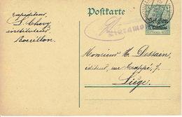 Entier Germania BOUILLON 1915 Vers LIEGE - Censure LIBRAMONT - Signé L. CHEVY Insituteur à BOUILLON - Guerre 14-18