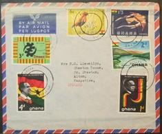 Ghana - Cover To England 1963 Birds Flag - Ghana (1957-...)
