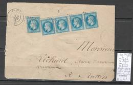 France -Lettre De BASTIA- Corse - 1869 - CHARGE - Tarif à 1 Franc - Yvert 29 X 5 - Marcophilie (Lettres)