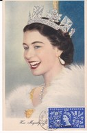 MAROC ANGLAIS Carte Maximum QUEEN Elisabeth II Yt 70  1953  Revenue Tangier Maximum Card - Morocco Agencies / Tangier (...-1958)
