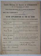 Document GEMMENICH Comité Secour Alimentation Prov Liège Ration Pain Farine Cachet Stampel Comuté Local - Ohne Zuordnung