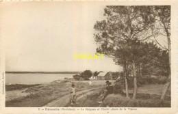 56 Pénestin, Le Halguen Et L'embouchure De La Vilaine, Famille Au 1er Plan, Chalet En Arrière, Carte Pas Courante - Pénestin