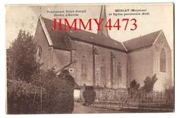 CPA - MESLAY 53 Mayenne En 1924 - Pensionnat Saint Joseph Jardin D'entrée Et Eglise Paroissiale Sud - Edit. A. Bréger - Meslay Du Maine