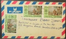 Ghana - Multifranking Cover To England 1981 Women Food FAO - Ghana (1957-...)