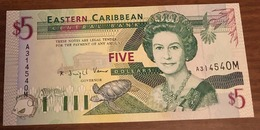 Eastern Caribbean CARAIBI Orientali EST $5 1994 Montserrat Pick#31m Lotto.156 - Caraibi Orientale