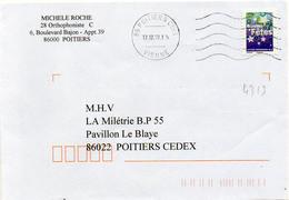 N° 4313 Adh Y. Et T. Vienne Poitiers CDIS Flamme Muette Du 17/12/2008 - Marcofilia (sobres)