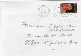 N° 4315 Adh Y. Et T. Vienne St Julien L'Ars Flamme Muette Du 20/12/2008 - Marcofilia (sobres)
