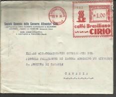 ITALIA REGNO ITALY KINGDOM 1936 BUSTA PUBBLICITARIA CIRIO CAFFE' BRASILIANO AFFRANCATURA MECCANICA ROSSA COVER - Marcofilía