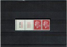 VARIETE - MARIANNE DE CHEFFER 40c ROUGE PAIRE AVEC GUILLOCHIS  ** Y/T N°1536B - Curiosités: 1960-69 Neufs