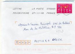 N° 4320 Adh Y. Et T. Oblité Noire Néopost 37668A (Sorigny Tours PIC) Flamme Muette Du 27/11/2008 - Marcofilia (sobres)