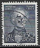 ALLEMAGNE   .  1953   .Y&T N° 52 Oblitéré  .  Le Chimiste  /   J. Von Liebig. - Usados