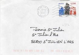 N° 4322 Y. Et T. Vienne St Julien L'Ars Flamme Muette Du 27/12/2008 - Marcofilia (sobres)