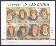 O267 TANZANIA FAUNA ANIMALS MONKEYS THE CHIMPANZEES OF GOMBE 1KB MNH - Chimpancés