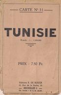 TUNISIE - CARTE GÉOGRAPHIQUE EN COULEURS - CARTE N° 31 - Éd. R. DE ROUCK (1/1.000.000) - Geographical Maps