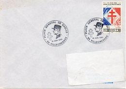 VILLECRESNES (VAL DE MARNE) :GENERALDE GAULLE INAUGURATION D'UNE PLACE Oblitération Temporaire 1990 - De Gaulle (General)