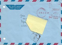 """Enveloppe """"Par Avion"""" Vers Le Pérou - Affranchissement Machine - Charleroi - 1976 - Belgien"""