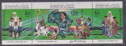 Libye N° 1283 / 85 XX Journée Des Enfants Africains Les 3 Valeurs Se Tenant Sans Charnière, TB - Libyen