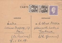 Affranchissement Composé Dulac Chaines Brisées Carte Postale PAU Basses Pyrénées 15/5/1945 à Colonel Mafria ? Toulouse - Poststempel (Briefe)