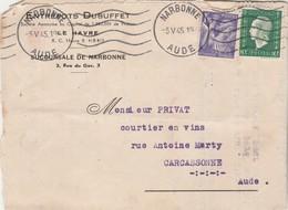Affranchissement Composé Dulac Iris Carte Lettre Entête Entrepôts Dubuffet NARBONNE Aude 5/5/1975 à Carcassonne - Poststempel (Briefe)
