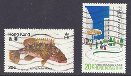 Hong Kong - 1981 Marine Life, Fauna, Fish, Epinephelus Akaara, Public Housing, Modern Buildings - Used - Other