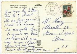 ARDECHE 1966 LAVIOLLE RECETTE AUXILIAIRE RURALE / COQ DE DECARIS 176 HABITANTS EN 1968 - Marcofilia (sobres)
