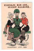 WIERINGEN  JAN. 1919  EINSAM BIN ICH, NICHT ALLEIN...   J.L        W. Den Boer - Bussum    PLANTIJN - Guerra 1914-18